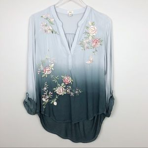 Anthropologie | Ombre Garden Peasant Top Roses S